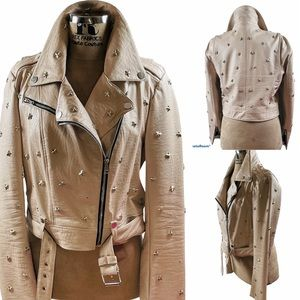 BeBe Cropped Star Faux Leather Moto Jacket